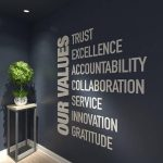 Our Values, Office, Wall, Art, Decor, 3D, PVC, Typography, Inspirational, Motivational, Work, Sucess, Decals, Office Decor - SKU:VALUES