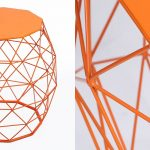 Patio Chair - Hatched Diamond Pattern Metal Stool