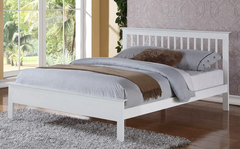 Pentre White Wooden King Size Bed | Furniture Choice