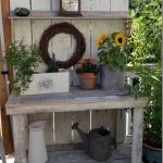 Potting Bench Decorated for Fall still no Mantel - Flower Patch Farmhouse
