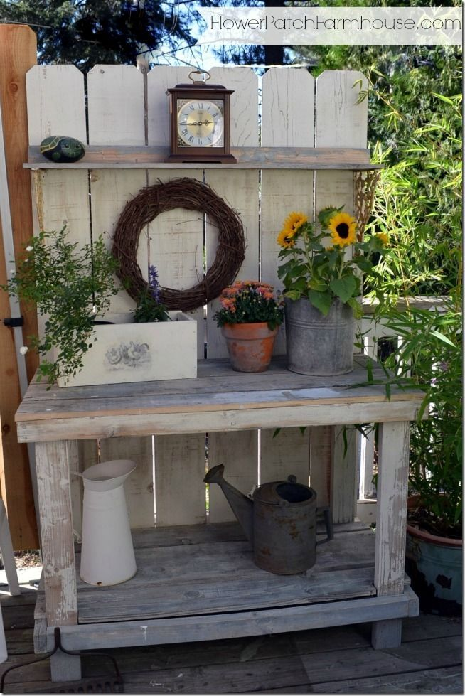 Potting Bench Decorated for Fall still no Mantel – Flower Patch Farmhouse
