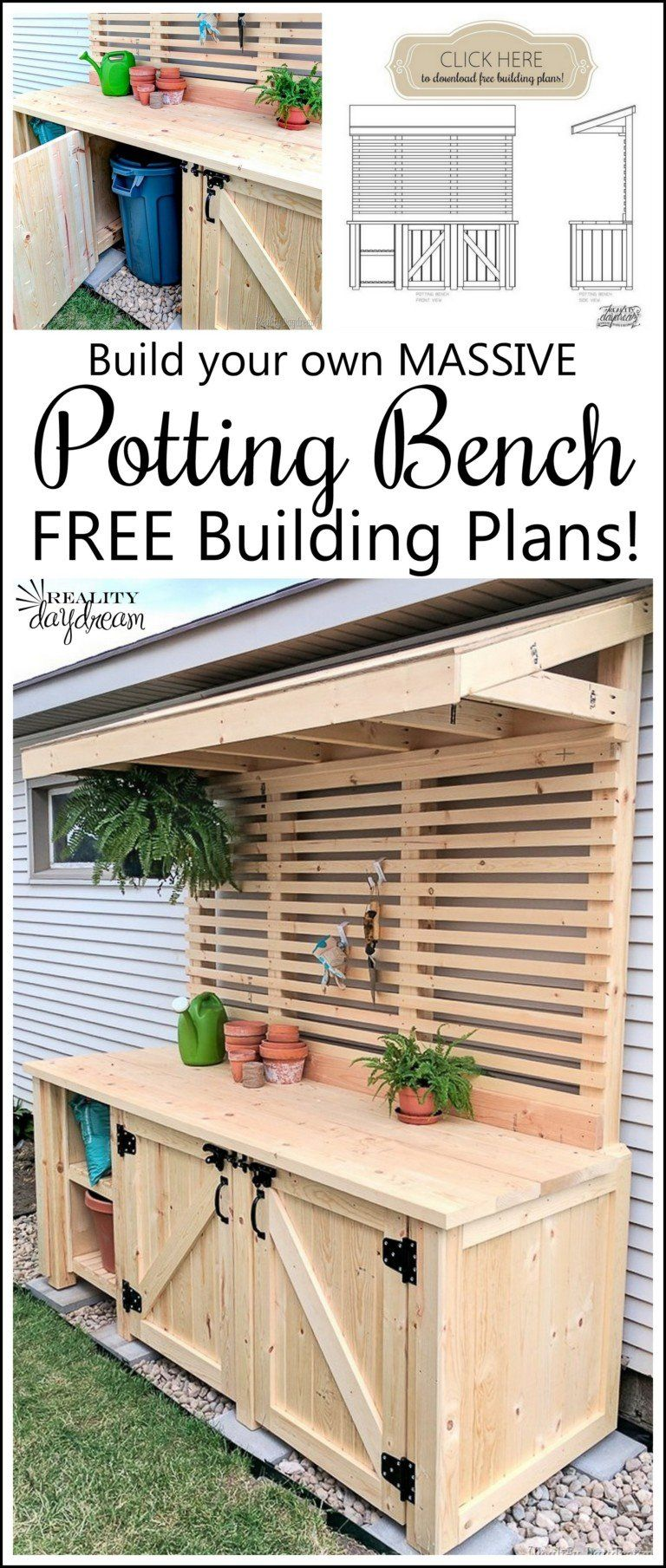 Potting Bench with Hidden Garbage Can Enclosure – Reality Daydream