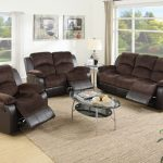 Poundex F6695-96 2 pc samantha ii tow tone chocolate padded suede and vinyl sofa and love seat set with reclining ends
