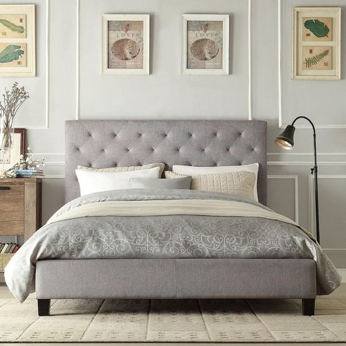 Queen Button Tufted Grey Upholstered Platform Bed