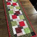 Quilted Christmas Table Runner, Handmade, Red,Green,and Black