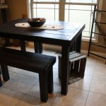 RUSTIC PUB TABLE & Bench Set Black Tall Bar Kitchen Table With Two Matching Benches Custom Sizes Colors Home Wedding Rustic Decor