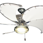 """Raindance Brushed Steel Nautical Ceiling Fan w/52"""" Spring Frame Fabric Blades in..."""