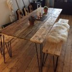 Reclaimed Wood Dining Table and 2 Benches hairpin legs. FREE DELIVERY