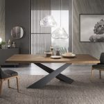 Rectangular wooden dining table LIVING - Graphite & Walnut By RIFLESSI