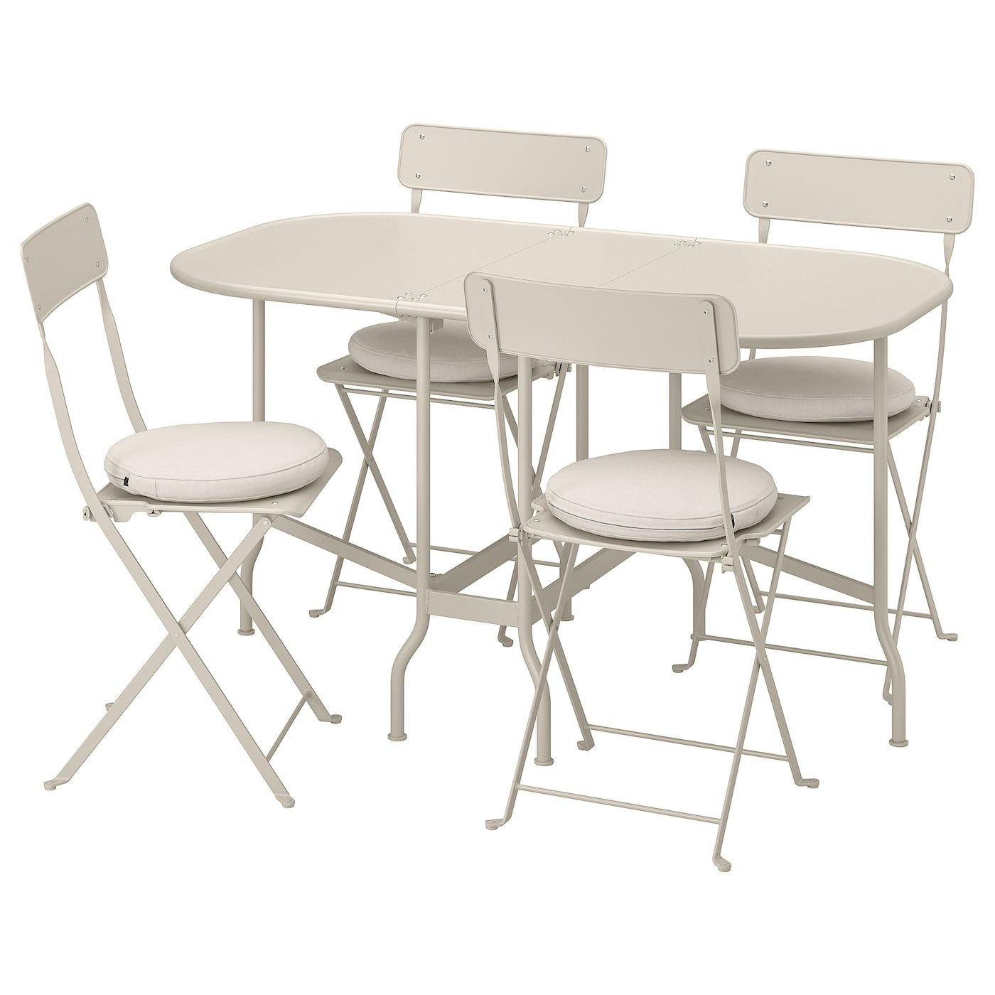 SALTHOLMEN Gateleg table+4 chairs, outdoor – beige, Frösön/Duvholmen beige – IKEA
