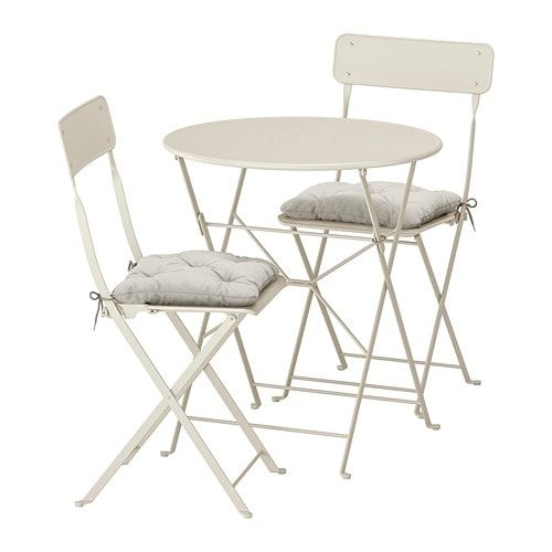 SALTHOLMEN Table and 2 folding chairs, outdoor – beige, Kuddarna gray – IKEA