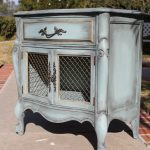 SOLD Vintage French provincial nightstand / night stand / night table / side accent table shabby chic boho duck egg blue teal