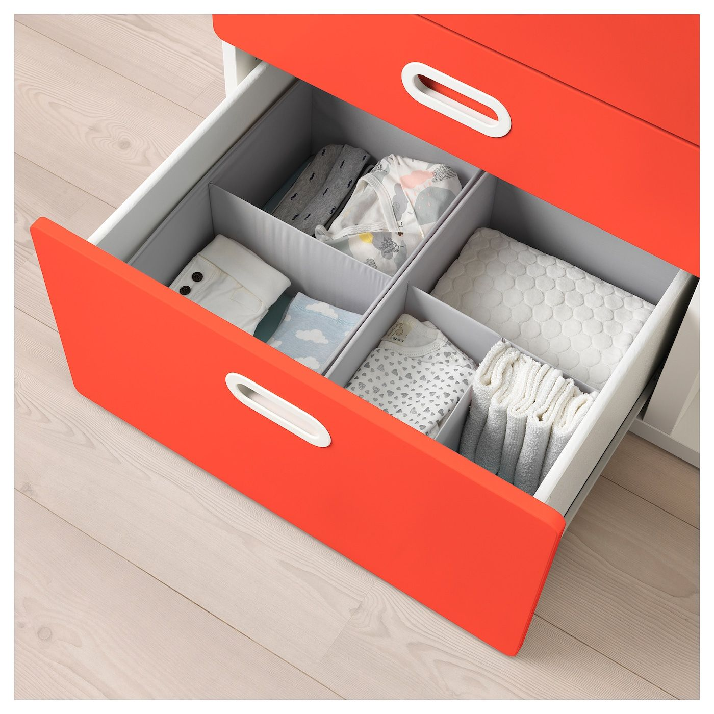 STUVA / FRITIDS Changing table with drawers – white, red – IKEA