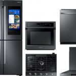 Samsung SARECOWODWMW8918 5 Piece Kitchen Appliances Package with French Door Refrigerator and Dishwasher in Black Stainless Steel