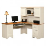 Sauder Harbor View Corner Computer Desk with Hutch - Antiqued White - Walmart.com