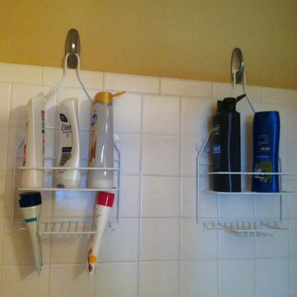Shower caddy on hook instead of shower head
