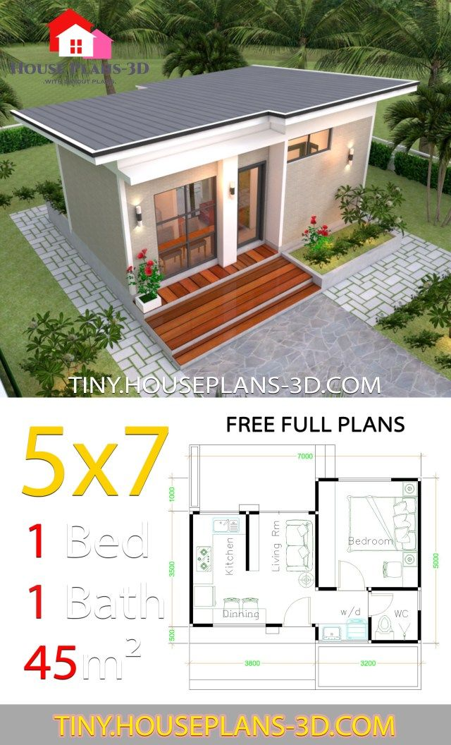 Small House Design Plans 5×7 with One Bedroom Shed Roof – Tiny House Plans