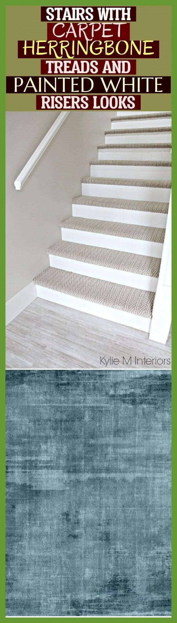 Stairs With Carpet Herringbone Treads And Painted White Risers Looks | treppe mi…