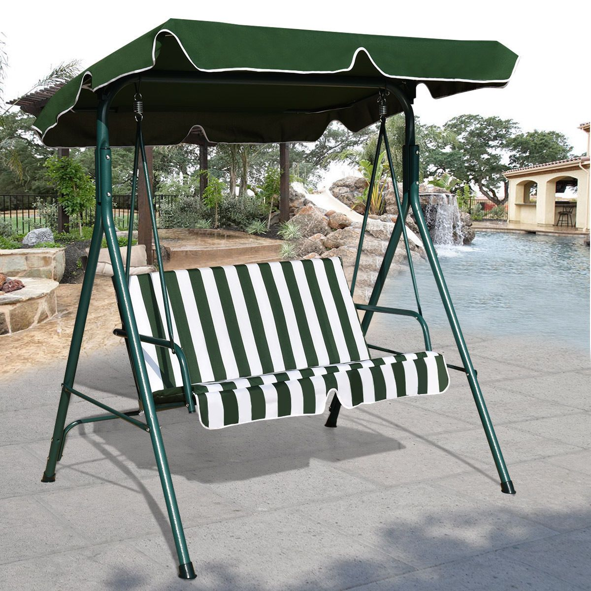 Steel Frame Outdoor Patio Canopy Swing Glider Hammock with Cushioned