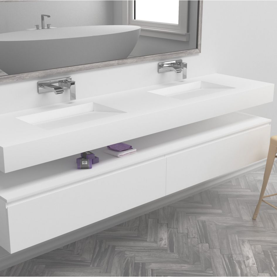 Stunning Corian double washbasin with gradient sink for sleek drainage. Absolute…