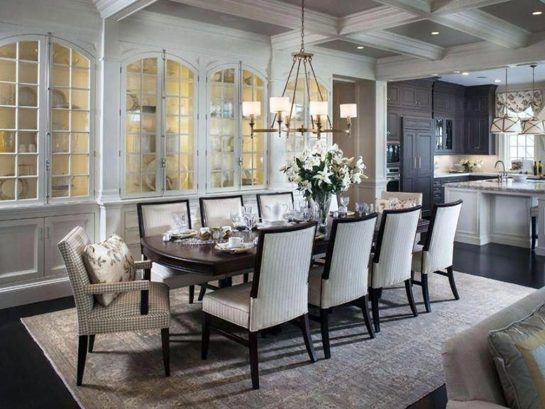 Traditional dining room with open layout to kitchen #Diningroomideas #openliving…