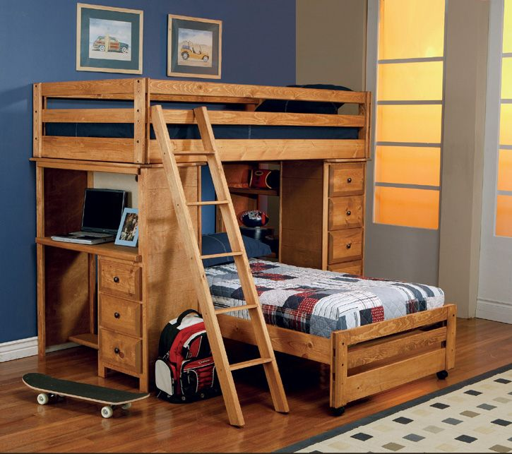 Transitional Amber Wash Loft Twin/Twin Bunk Bed – Coaster 460141