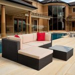 Tuoze 5 Pieces Patio Furniture Sectional Set Outdoor All-Weather PE Rattan Wicker Lawn Conversation Sets Cushioned Garden Sofa Set with Glass Coffee Table Brown