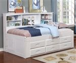 Twin Size Bookcase Captains Day Bed in White 0222 | Day Beds | Discovery World Furniture
