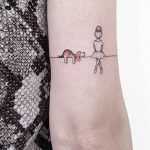 Unique Dog Ballerina Landscape Back of Elbow Tattoo Ideas for Women - ideas úni...