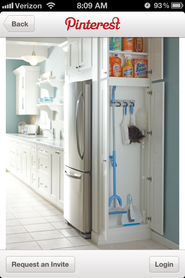 Utilities closet….. Great place to store this stuff in kitchen… Short on sto…