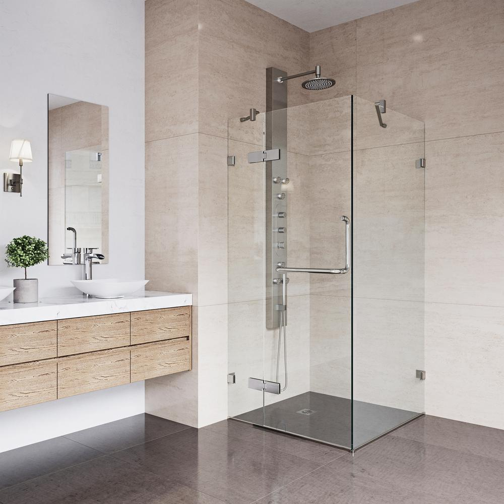 VIGO Monteray 30.25 in. x 73.375 in. Frameless Corner Hinged Shower Enclosure in Brushed Nickel with Clear Glass-VG6011BNCL32 – The Home Depot