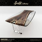 Walnut Dining Table with Shining Metal Legs...  - furniture - #dining #Furniture...