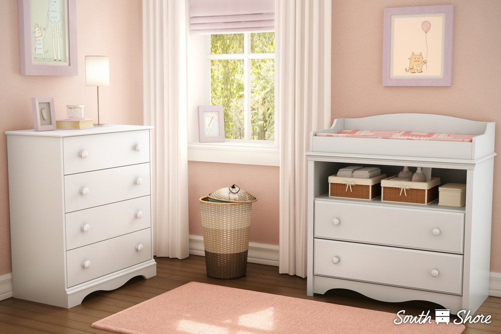 White Changing Table and 4-Drawer Chest Set – Angel