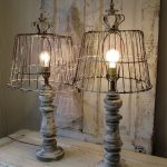 Wooden baluster table lamp rustic farmhouse distressed wood base w/ recycled rusty basket lampshade lighting home decor anita spero design