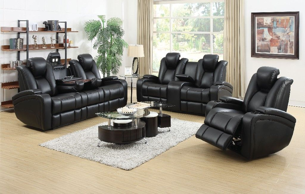 Zimmerman Black Faux Leather Power Motion Three-Piece Living Room Set – Coaster 601741P-S3