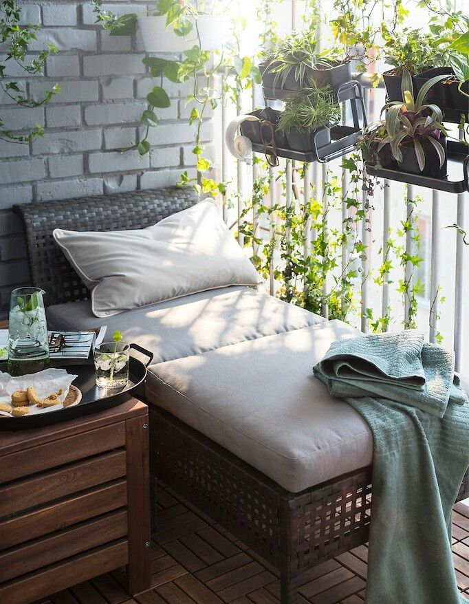 cozy balcony with chaise lounge