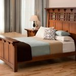 craftsman bedroom design dark hardwood bed frame with higher headboard multicolo...