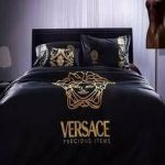 luxury soft Egyptian cotton black gold embroidered duvet bedding set Features: W...