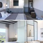 #modern #hotel  This modern hotel room has white walls with a lower grey stripe,...